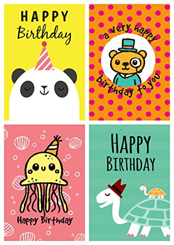 12lustige Geburtstagskarten und Umschläge mit Tiermotiven, Panda, Schildkröte, Krake, Bär, hergestellt in Großbritannien. (Karten Lustige Geburtstag Pack)