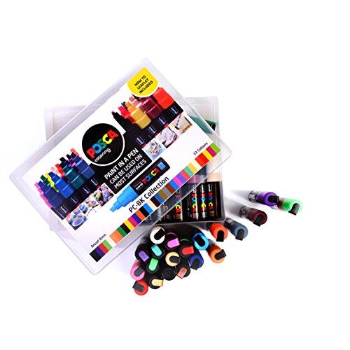 """POSCA 153544870 PC-8K """"Paint in a Pen""""-Sammelbox, 8 mm breite Keilspitze aus Acryl, wasserbasierte Filzstifte, 33 Farben (Neon Ton)"""