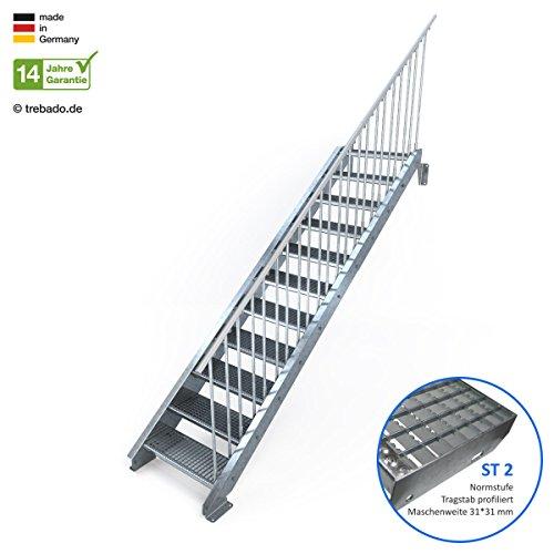 Außentreppe 11 Stufen 70 cm Laufbreite – einseitiges Geländer rechts - Anstellhöhe variabel von 183 cm bis 220 cm - Gitterroststufe ST2 - feuerverzinkte Stahltreppe mit 700 mm Stufenlänge als montagefertiger Bausatz