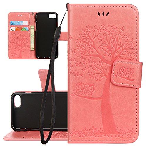 Hülle für iPhone 6S Plus, Tasche für iPhone 6 Plus, Case Cover für iPhone 6 Plus, ISAKEN Blume Schmetterling Muster Folio PU Leder Flip Cover Brieftasche Geldbörse Wallet Case Ledertasche Handyhülle T Baum Eulen Pink