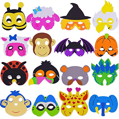 SWZY Tiermasken,Schaumstoff Masken Eva Animal Masks Schaumstoff Masken Kindermasken für Halloween Weihnachten Kostüm Requisiten Dress-Up Party Zubehör, 16 - Party Animal Kostüm Zubehör
