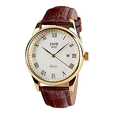 CIVO Men's Brown Genuine Leather Band Date Calendar Wrist Watch Mens Casual Business Analogue Quartz Waterproof Watches Classic Roman Numeral Simple Design Luxury Fashion Dress Wristwatch Golden Tone