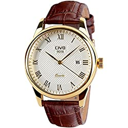 CIVO Men's Brown Genuine Leather Band Date Calendar Wrist Watch Mens Casual Business Analogue Quartz Waterproof Watches Classic Roman Numeral Simple Design Luxury Fashion Dress Wristwatch Golden Tone