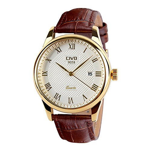 CIVO-Mens-Brown-Genuine-Leather-Band-Date-Calendar-Wrist-Watch-Mens-Casual-Business-Analogue-Quartz-Waterproof-Watches-Classic-Roman-Numeral-Simple-Design-Luxury-Fashion-Dress-Wristwatch-Golden-Tone