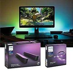 Philips Hue Gaming Set Erweiterung - Hue Play Doppelpack, schwarz & Hue LightStrip Plus 2m | RGBW Backlight Beleuchtung für Bildschirm und Schreibtisch | Tischleuchte & LED Streifen, Ambilight