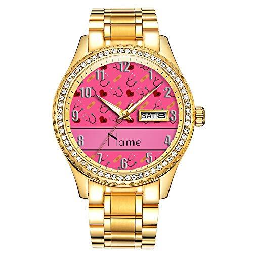 Diamantvergoldete Uhr Luminous Luxury Waterproof Einzigartige Gold-Armbanduhr 296.Personalisierter Name rosa Stethoskop Bandage Herz