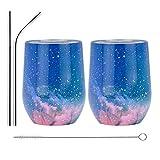 ACOOME 2PCS 12 oz (350MM) Bicchiere da Vino con Isolamento a Doppia Parete, Bicchiere da Vino Senza Stelo in Acciaio Inossidabile, Bicchiere da Vino con Coperchio a Doppia Parete (Stellato Rosa)