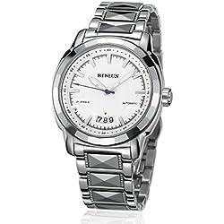 binlun Herren Mechanische Uhr Edelstahl groß Zifferblatt Armbanduhr mit Datum, Leuchtzeiger