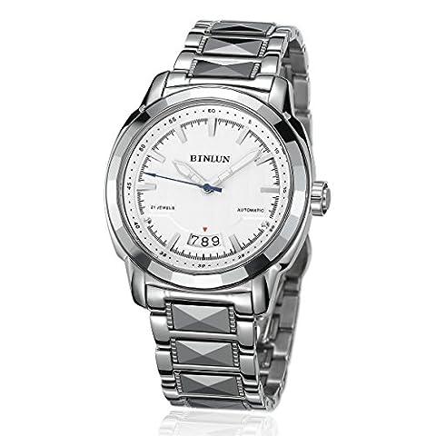 Binlun montre mécanique pour homme en acier inoxydable Grand cadran Wrist-watch avec date, aiguilles lumineuses