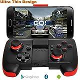 Android Controller Ultradünn Bluetooth Gamepad mit Halterung für Android / Tablet / TV-Box / VR-Geräte / Emulatoren - Schwarz Rot