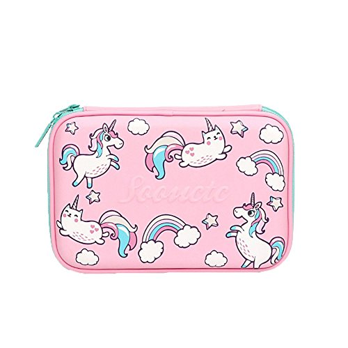 Onebycitess Cute Unicorn Pencil Case Kids Large Colored Pen Holder Box With Compartments Girls Cosmetic Pouch Bag Stationery Organizer