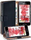 moex® Booklet mit Flip Funktion [360 Grad Voll-Schutz] für Samsung Galaxy Ace   Geldfach & Kartenfach + Stand-Funktion & Magnet-Verschluss, Schwarz