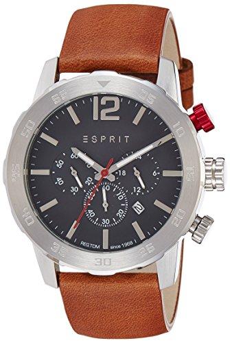 Reloj Cuarzo ESPRIT para Hombre con Negro Cronógrafo Y Marrón Cuero ES109171004