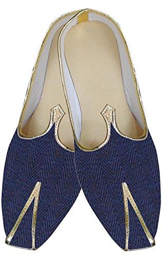 inmonarch Herren Modernes indischen Hochzeit Marineblau Blau Schuhe mojari mj149 Navy-Blue