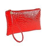 Winkey  Tasche, Brieftasche, Frauen Krokodil Leder Clutch Handtasche Tasche Geldbörse (Rot)