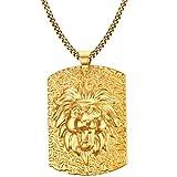 Onefeart Vergoldet Anhänger Halskette Zum Damen Herren Löwenkopfform Tag Entwurf mit Kette 53x38MM Gold