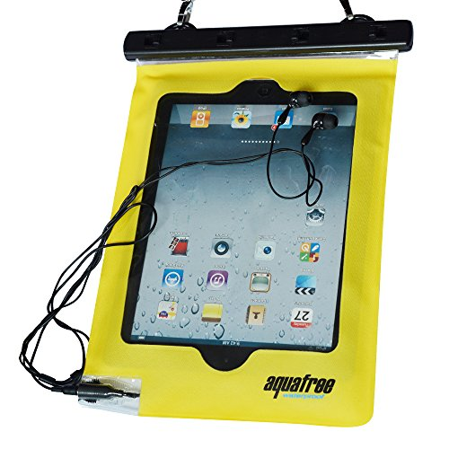 Aquafree, busta stagna per smartphone, adatta a quasi tutti gli smartphone–inclusi Apple iPhone 6, 6Plus, 5S, 5C, 5, Samsung Galaxy S6, con cordino giallo