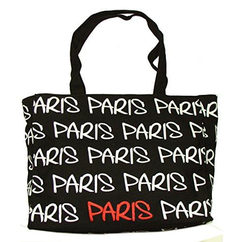 Robin Ruth - Sac Shopping Paris - Couleur : Noir, Blanc