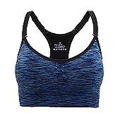 Aibrou Damen Sport BH Starker Halt Bustier Push up Bra Top für Yoga Fitness Training Blau S