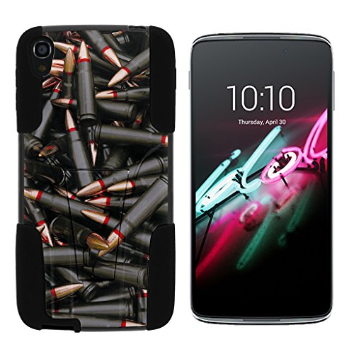 turtlearmor | Alcatel OneTouch Idol 3 Fall (14 cm) [Gel Max Cover] Dual Layer Hybrid Funktion Absorber Silikon Cover Krieg und Military Design -, Black Bullets - Alcatel Camo One Touch