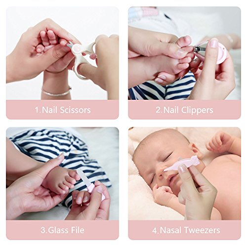 Babypflege Set 4-teiliges, FAIREACH Baby Pflegeset mit Sicherheits Nagelschere, Glasnagelfeile, Nagelknipser, Nasenpinzette, Nagelpflegeset für Neugeborene, Baby und Kinder, Rosa - 5