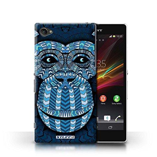 Kobalt® Imprimé Etui / Coque pour Sony Xperia Z1 Compact / Loup-Mono conception / Série Motif Animaux Aztec Singe-Bleu