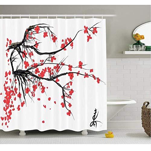 Yiciyici Natur Duschvorhang Sakura Blossom Japanischer Kirschbaum Garten Sommer Vintage Kultur Print Stoff Badezimmer Dekor Set-200(H) x230(W) (Badezimmer-set Sakura)