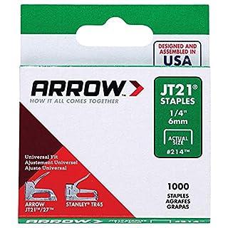 Arrow Fastener Jt21 T27 6Mm 1/4 Inch Staples Box Of 1000 #214