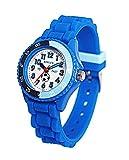 Armbanduhr zum Lernen der Uhrzeit auf Englisch, Blau, aus Silikon, für Kinder, BM1