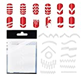 Amazing Deal 10 Sets With 347pcs Professional Nail Art Salons Quality White Guides Stickers / Strips In 13 Different Shapes For French Nails Manicure And Nails Designs / Patterns Application By VAGA