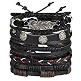 6pcs Genuine Leather Bracelet Wraps Casual Party Wear Skin...