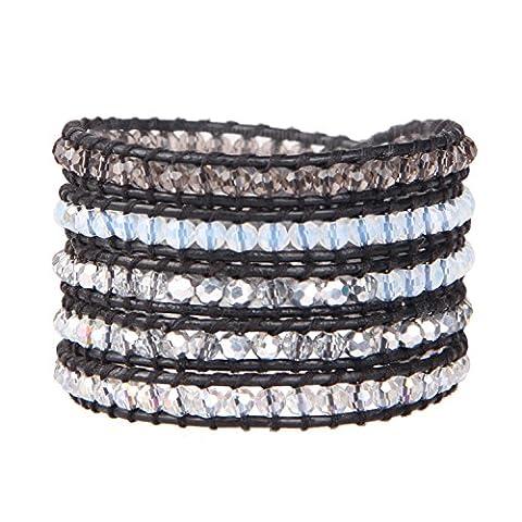 KELITCH Naturel Coloré Cristal Mix Gris Petit Perles Multicouche Bracelet Fait Main Bijou Neuf