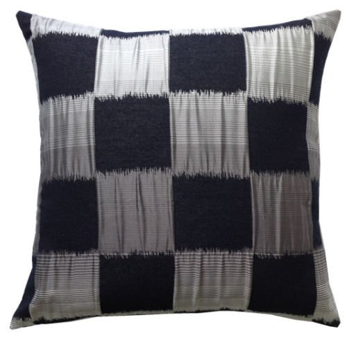LUXURY STYLE EMPIRE SQAURES FAUX SILK CUSHION COVER (BLACK)