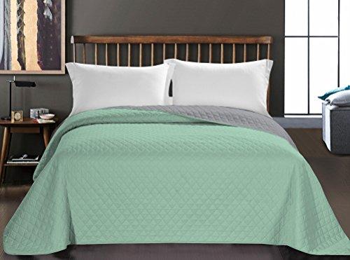 Couvre-lit menthe gris acier Jeté de lit double face entretien facile Axel, Polyester, menthe/acier, 170 x 270 cm
