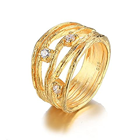 JewelryPalace Fashion Cubic Zirconia Anniversary Band Ring 925 Sterling Silver 18K Rose Gold Plated Size