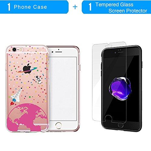 Coque iPhone 6S, TrendyBox Transparent PC Hard Cover avec soft TPU Pare-chocs pour iPhone 6/6S avec verre trempe film de protection (Etoiles et astronaute) 109