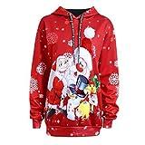 Weihnachten Kapuzenpullover Damen Herren Sweatshirt Unisex Hoodie Santa Claus Schneemann Hoodies Tops Sweater Pullover Von Xinan (M, ❤️Rot)