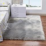 KIMSAI-Teppich, Wolle, Leder, Plüsch, Wohnzimmer, Schlafzimmer, Nachttisch, Rutschfest, Wolle, grau, 60 * 120