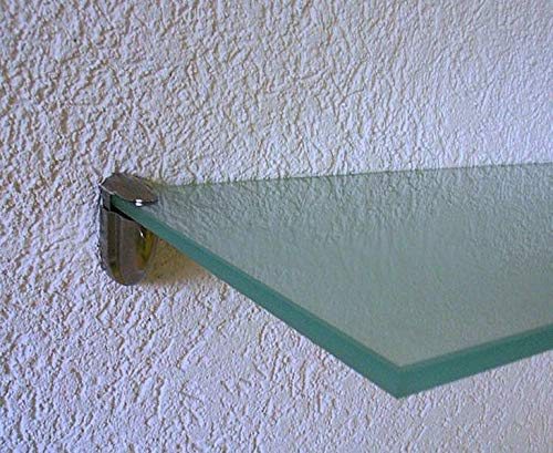 Trend-System Glas Wandregal Claro, Eckregal, Badregal, klar oder satiniert, Farben/Größen wählbar, mit verschiedenen Wandhalterungen (Claro satiniert 60x20x1,0 cm, Clip Midas Edelstahl)