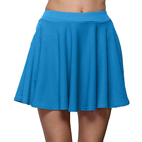 BHYDRY Frauen Pure Color Hohe Taille Falten Halb Body Skirt Bottoming(Medium,Ciel bleu)