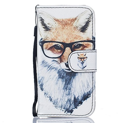 iPhone 5C Hülle,iPhone 5C Ledertasche Handyhülle Brieftasche im BookStyle,SainCat Retro 3D Muster Marmor PU Leder Hülle Wallet Case Folio Schutzhülle Scratch Bumper Handytasche Backcover Handy Tasche  Fuchs