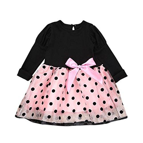 kleider mädchen Kleid bowknot Hemdkleid netto - garn tutu kleid kleidung Mädchen Kinder mädchen Printkleid Kleid Bogen Rock für Baby (100, Rosa) (Kleine Asiatische Mädchen)