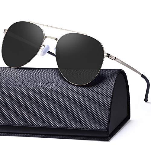 AVAWAY Klassische Verspiegelte Sonnenbrille Damen Herren Pilotenbrille mit 100% UV400 Schutz Ultra Leicht Metallrahmen