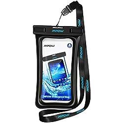 Mpow Funda Impermeable Móvil, Duradero y Resistente, Funda Acuática Movil, con Botón de Inicio, para iPhone XXS/XS MAX/X/8/8 Plus,Sumsung Galaxy S10/S9/S8/S7, Huawei, Xiaomi, 1 Unidad