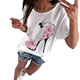 Jaminy Frauen Kurzarm High Heels bedruckt Tops Beach Casual locker Bluse Top T-Shirt (Weiß, XL)