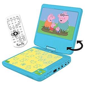 """Peppa Pig Lector DVD portátil con Puerto USB y Mando, Pantalla 7"""" giratoria, 30 x 25.9 x 14 cm (Lexibook DVDP6PP)"""