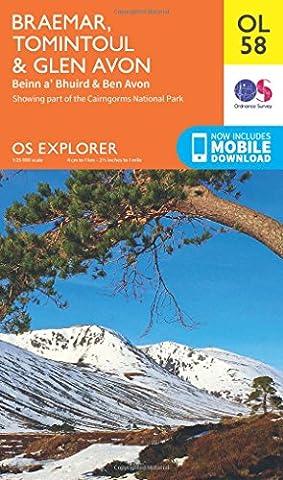 OS Explorer OL58 Braemar, Tomintoul & Glen Avon (OS Explorer Map)