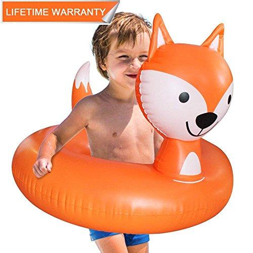 Juguete Hinchable Flotador para Piscina, Leeron Flotador de Zorro Animal Colchonetas Flotante para Playa, Anillo de la Natación, Silla de la Recreación del Agua para los Niños (Naranja, Pequeño)