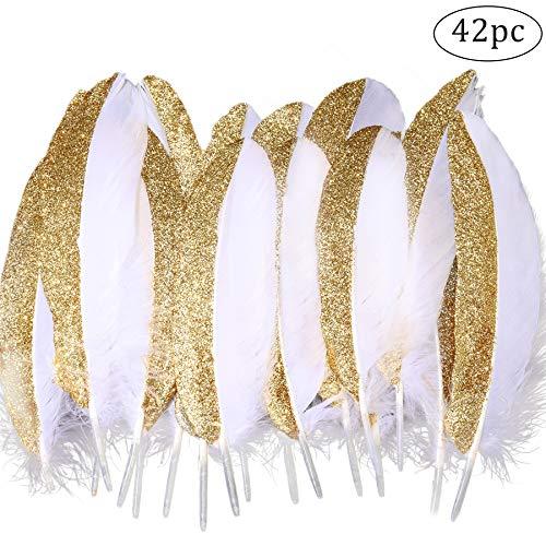 Coucoland Party Dekoration Federn 42 Stück Gold/Silber 1920s Gatsby Deko Geburtstagsparty Deko Kinder Bastelarbeit Halloween Fasching Kostüm Accessoires (Weiß Gold) (Partys Für Feder-dekorationen)