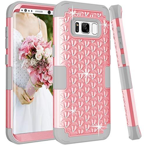 Artfeel Bling Briller Coque pour Samsung Galaxy S8 Plus, Mode 3 en 1 Hybride Plastique Dur + Silicone Souple avec Cristal Strass Diamant Étui Anti-Rayures Antichoc Armure Housse,Rose + Gris